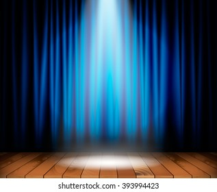 Theater stage with wooden floor and blue curtain and a spotlight in center. Vector illustration