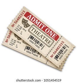 Theater tickets in retro style. Admission tickets isolated on white background. Vector illustaration