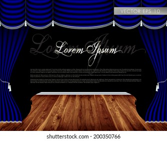 Theater wooden stage, luxury blue curtains with decorative silver tassels and rims - vector