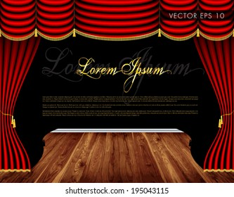 Theater wooden stage, luxury red curtains with decorative golden tassels and rims