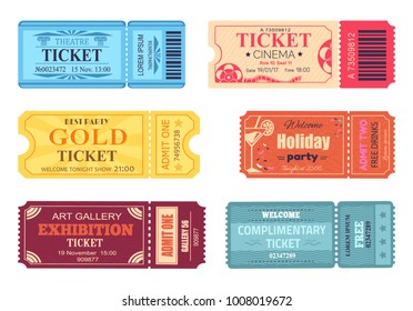 Theatre cinema ticket best party gold welcome holiday art gallery complimentary free coupon with control code vector illustration set of papers