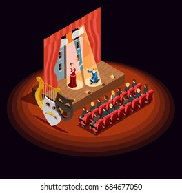 Theatre composition of isometric audience hall with stage during dramatic performance with human characters and masks vector illustration