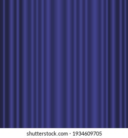 Theatre curtain vector background. Closed blue curtain on  theatre stage.