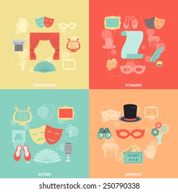 Theatre design concept set with performance actors scenario audience flat icons isolated vector illustration