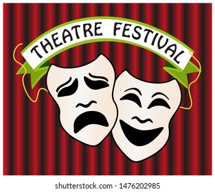 Theatre festival conceptual icons, comedy and tragedy symbols with stage curtain in the background. Theatre masks poster template vector illustration.