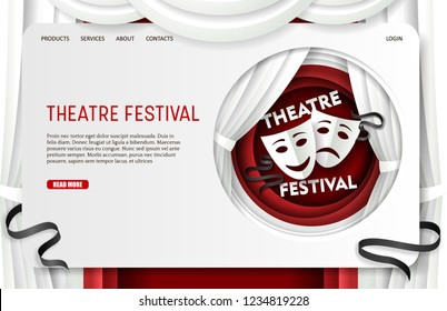 Theatre festival landing page website template. Vector paper cut theatre scene decorations, tragedy and comedy masks in circle. Theatrical performing art concept.