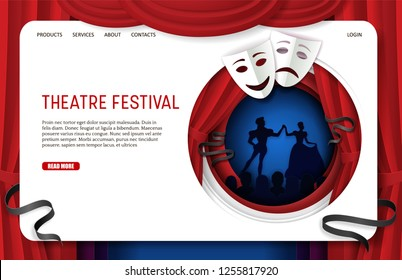 Theatre festival landing page website template. Vector paper cut theatrical scenery with theater tragedy and comedy masks, actors and spectators silhouettes.
