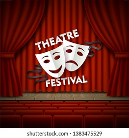 Theatre festival vector poster template. Realistic wooden theater stage with red curtains and theatrical tragedy and comedy masks, seats for spectators. Stage for concert, movie, dance and other show.