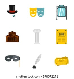Theatre icons set. Flat illustration of 9 theatre vector icons for web