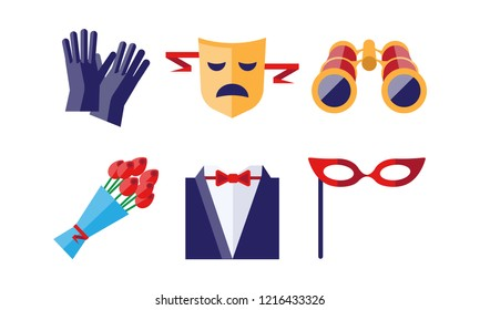 Theatre icons set, gloves, tragedy mask, bouquet of flowers, binoculars, dress coat, theatrical mask, theatrical premiere elements vector Illustration