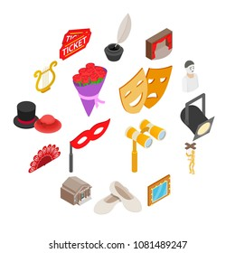 Theatre Icons set. Isometric 3d illustration of theater vector icons in circle isolated on white background