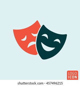 Theatre mask icon. Comedy and tragedy theater masks symbol. Vector illustration