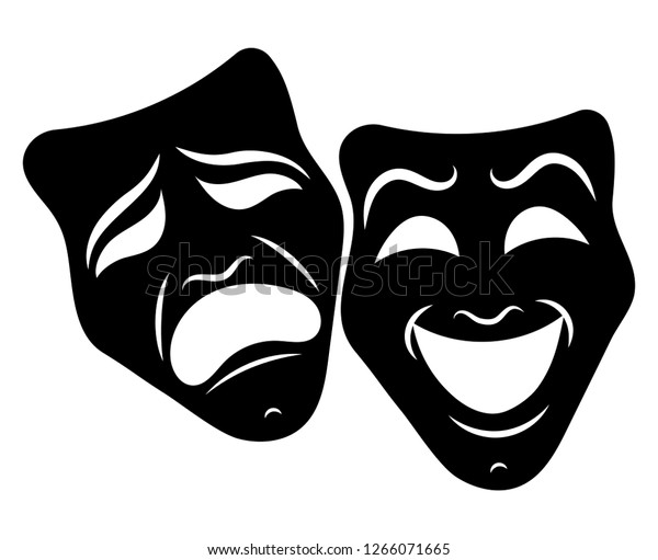Theatre Masks. Drama and comedy. Illustration for the theater. Tragedy and comedy mask. Black white illustration. Tattoo.