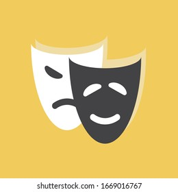 Theatre masks of drama and comedy on white background. Vector illustration in trendy flat style. EPS 10.