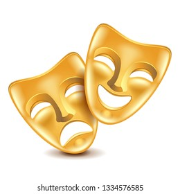 Theatre masks isolated on white photo-realistic vector illustration