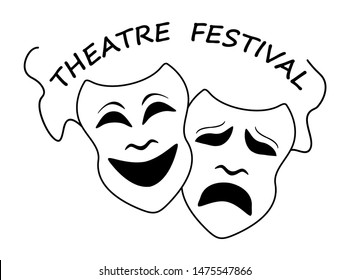 Theatre masks poster template vector illustration. Theatre festival conceptual icons with comedy and tragedy symbols.