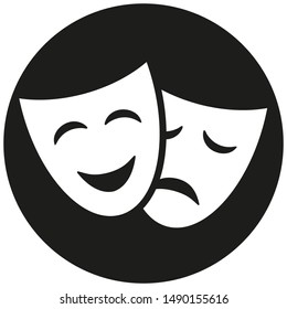 Theatre masks vector icon isolated on black background
