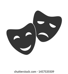 Theatre masks vector icon. Tragedy and comedy