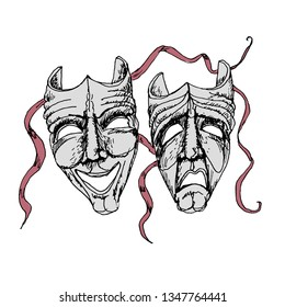 Theatre Masks.Comedy and tragedy vector icons. Engraving style. Victorian Era hand drawn illustration