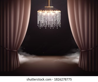 Theatre scene with chandelier interior realistic composition with view of classic stage with curtains and vapour vector illustration