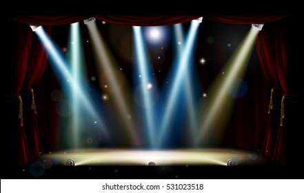 A theatre or theater stage and with footlights, spotlights and red curtains