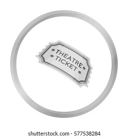 Theatre ticket icon in monochrome style isolated on white background. Theater symbol stock vector illustration
