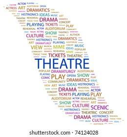 THEATRE. Word collage on white background. Vector illustration. Illustration with different association terms.