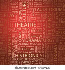 THEATRE. Word collage. Vector illustration.