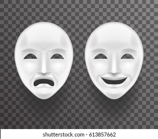Theatrical Mask Sadness Joy White Actor Play Face Antique Realistic 3d Transparent Icon Template Background Mock Up Design Vector Illustration