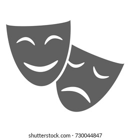 Theatrical masks graphic icon. Masks theatrical isolated sign on white background. Vector illustration