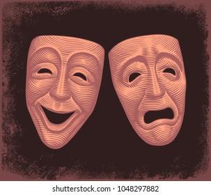 Theatrical masks. Hand drawn engraving. Vector vintage illustration. 8 EPS