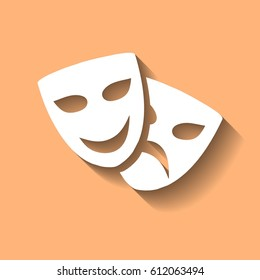 Theatrical masks laughter and crying vector illustration