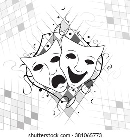 theatrical masks that representing  humor and sadness made in black and wight color with geometric elements as a background