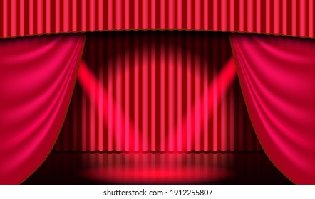 Theatrical scene. Red theater curtain and searchlight beam. Entertaiment scene background.