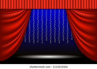 Theatrical scene. Theater curtain, lights garlands and searchlight beam. Scene background. Vector illustration EPS10