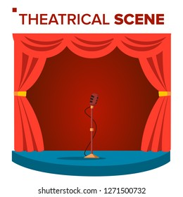 Theatrical Scene Vector. Performane. Stage Podium. Red Velvet Curtains. Event Show. Isolated Flat Cartoon Illustration