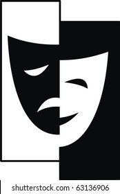Theatrical vector masks - isolated illustration. Theater - Tragedy and Comedy