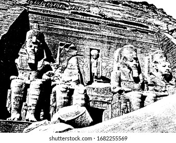 Thebes have Figures sculptured in one of the tombs, vintage line drawing or engraving illustration.