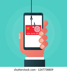 Theft of data from smartphone. Credit card on a hook. Theft of bank data. Credit card fraud. Phishing concept. Fishing hook. Vector illustration flat design. Isolated on background. Phone in hand.
