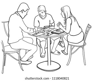 Their having a business meeting together with the business owner and the customer.