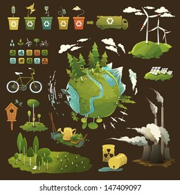 Thematic illustrations for environmental movement and environmental issues