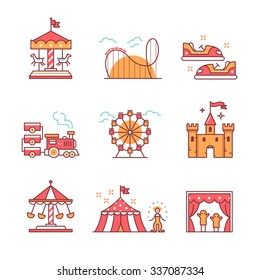 Theme amusement park sings set. Thin line art icons. Flat style illustrations isolated on white.