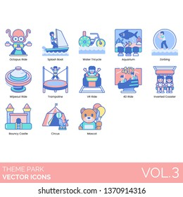 Theme park icons including octopus ride, splash boat, water tricycle, aquarium, zorbing, wipeout, trampoline, VR, 4D, inverted, bouncy castle, circus, mascot.