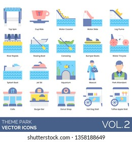 Theme park icons including top spin, cup ride, water coaster, slide, log flume, river rapids, rowing boat, canoeing, bumper, tricycle, splash, jet ski, aquarium, mascot, attendant, cafe, burger bar.