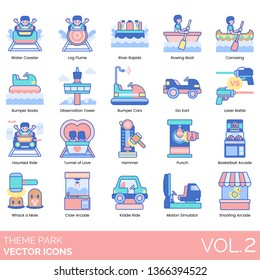 Theme park icons including water coaster, log flume, river rapids, rowing boat, canoeing, bumper, observation tower, car, go kart, laser battle, haunted ride, tunnel of love, hammer, punch, basketball