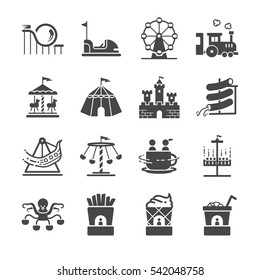 Theme park icons set. Included the icons as shop, Roller Coaster, amusement park, tent, castle, Carousel, Ferris wheel and more.