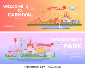 Theme park - set of modern flat vector illustrations with place for text. Two variants of funfair. Lovely cityscape with pond, attractions, houses, roller coaster, big wheel. Orange and purple colors