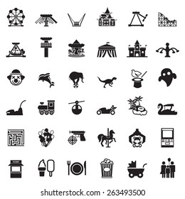 Theme Park and Zoo icon vector set