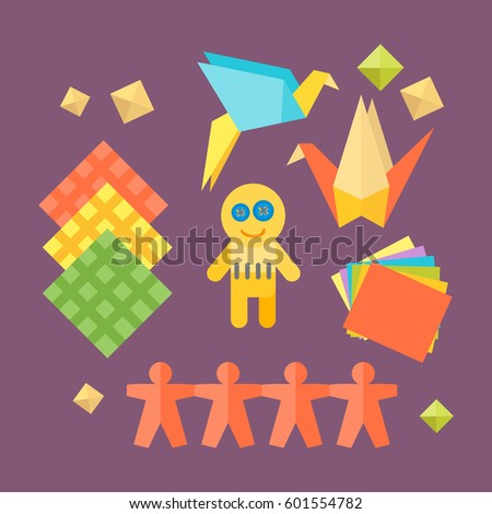 Themed Kids Origami Creativity Creation Symbols Stock Vector