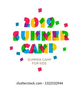 Themed Summer Camp 2019 poster in flat style, vector illustration.